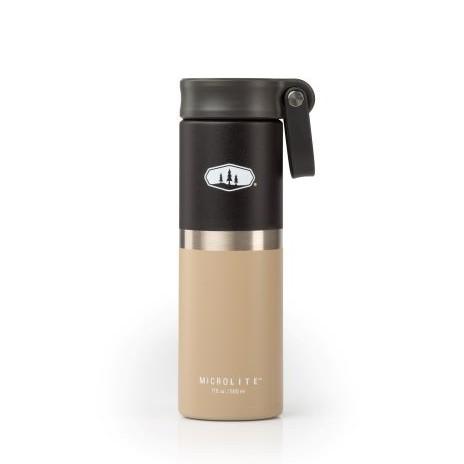GSI 輕量不鏽鋼真空提環保溫瓶 0.5L 雙色黑灰