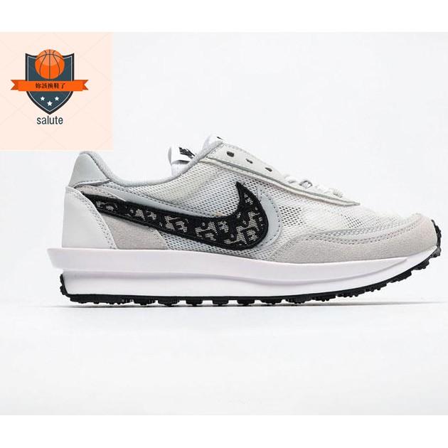 Nike Sacai X Dior LVD Waffle Daybreak 變形男女慢跑鞋 灰黑