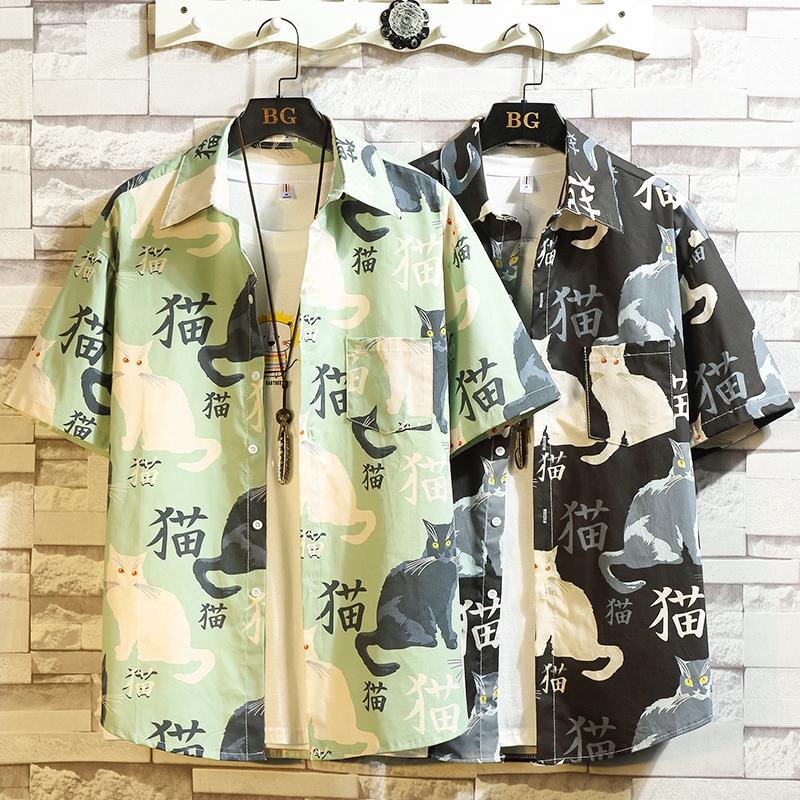 南山 M-5XL 2020新款男士寬鬆休閒潮印花襯衣 100棉 水洗 薄款 夏季日系大碼襯衫 現貨