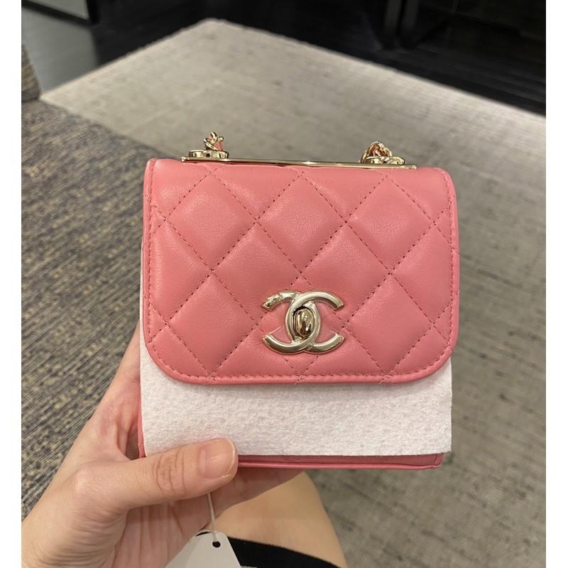 正品Chanel 超級mini鍊條小包超難買超可愛香奈兒Trendy粉色羊皮方型菱格鍊子小包  金釦
