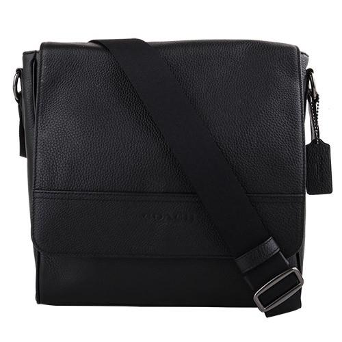 COACH- 壓印LOGO 荔枝紋皮革直式斜背包(黑)