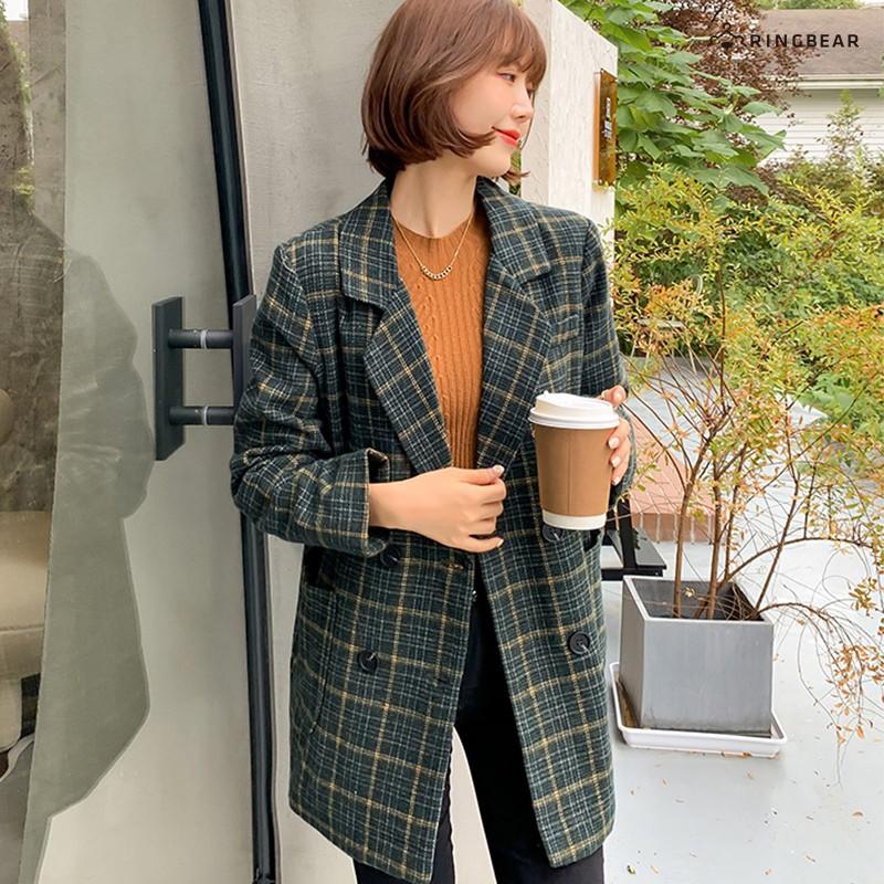 眼圈熊 中大尺碼 英式復古風格紋雙口袋雙排扣翻領長版毛料西裝外套(綠XL-4L)-J341
