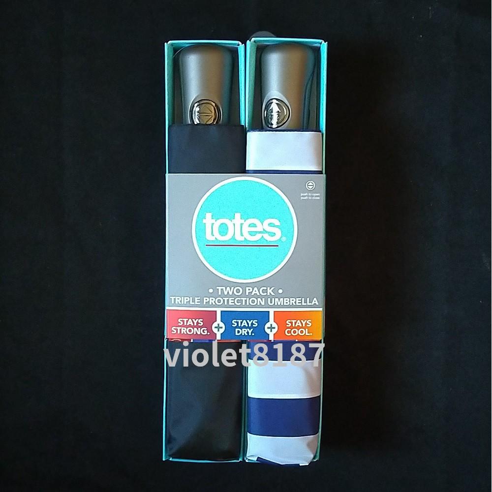 [Costco] Totes 三折自動開收傘1件(黑/藍白條紋)Totes雨傘 自動傘