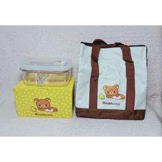 拉拉熊保溫袋 + 玻璃分隔保鮮盒 830ML