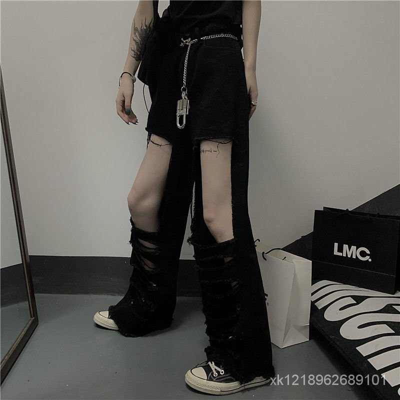 休閒褲復古工裝褲潮黑色春夏牛仔褲高腰韓版闊腿褲直筒女破洞