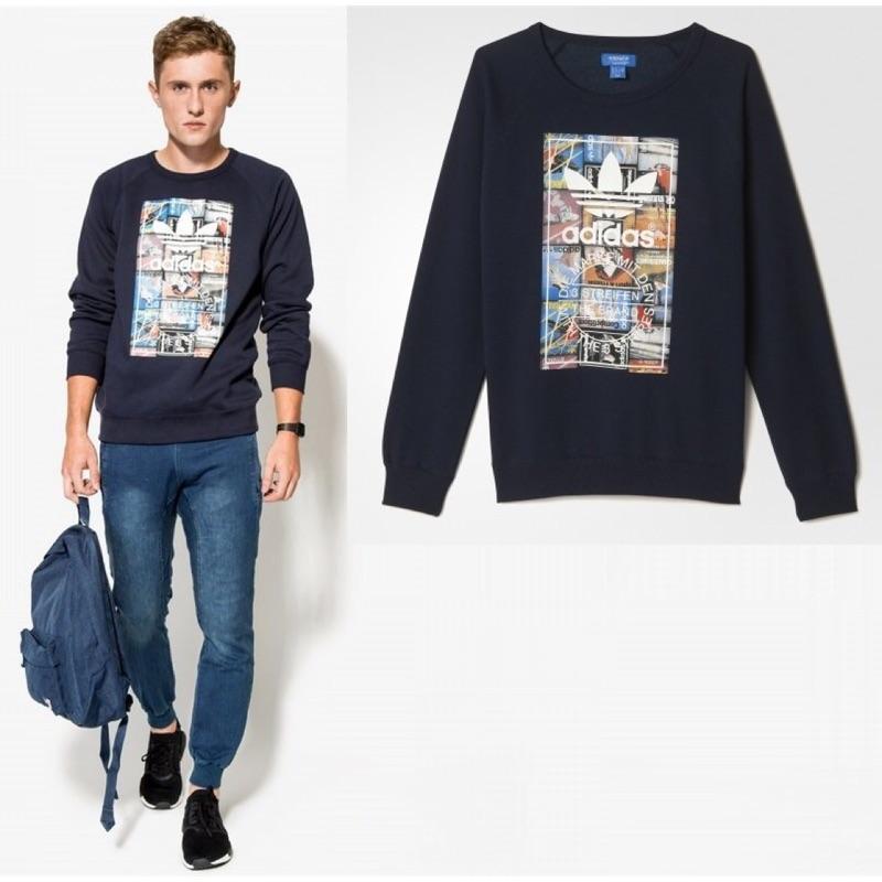 Adidas originals 愛迪達 塗鴉 街頭 長袖 刷毛 大學t 保暖 寒流 休閒 時尚
