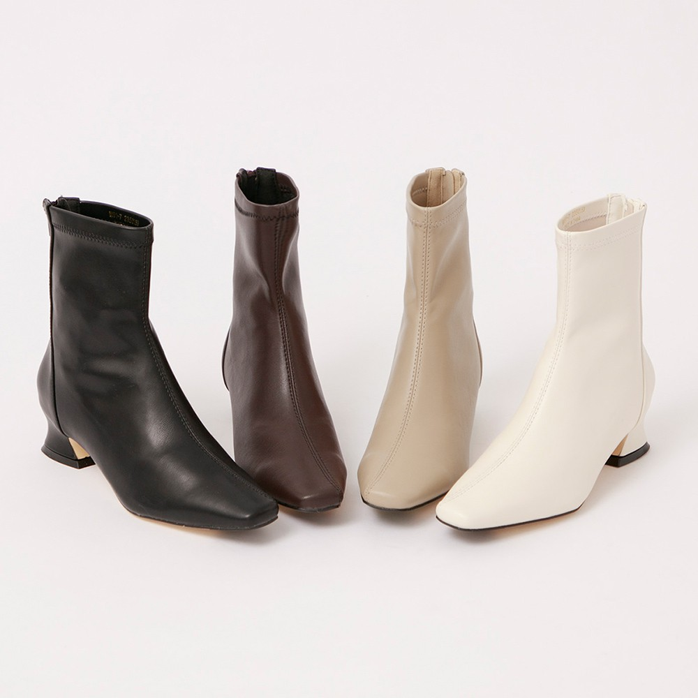 Grace gift-斜車線特殊中跟短靴