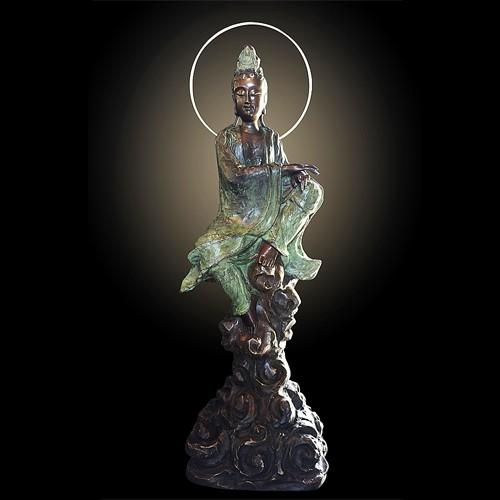 子問 限量原作觀音銅雕 妙莊嚴 觀世音菩薩- 限量件數36 作品上有作者親自簽名限量件數 附作品典藏證明書18kg
