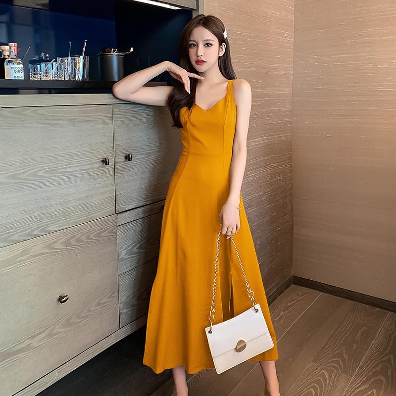 夏天洋裝細肩帶美背長洋裝優雅性感宴會禮服長裙