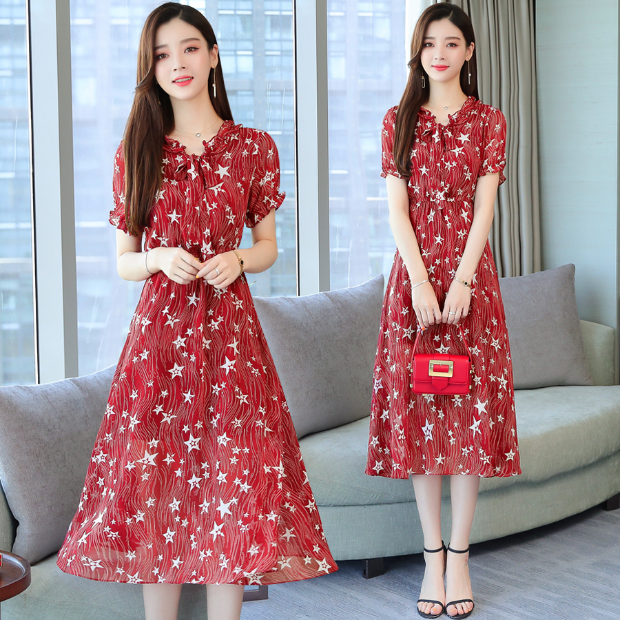 婦女的童話碎花雪紡洋裝夏季最新韓版高腰春秋中長款學生洋裝