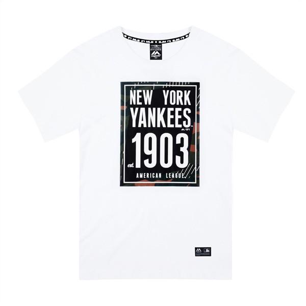 【Majestic】MLB NY 紐約洋基 1903 流行短T T恤 象牙白 休閒【ANGEL NEW ERA】