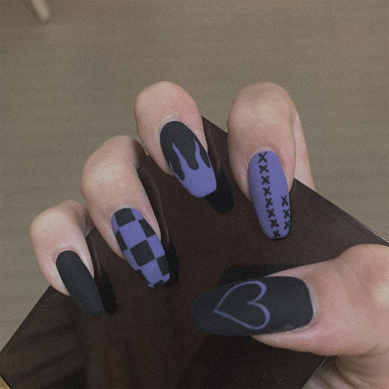 [3折現貨秒發][美甲]鴛鴦火焰粉藍磨砂美甲貼片成品梯形穿戴式中長款可拆卸假指甲甲片