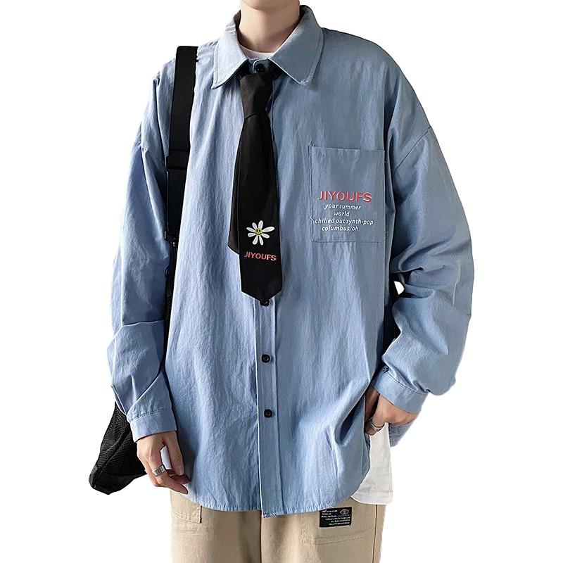 【HOT 本舖】M-2XL 襯衫 長袖襯衫 男士休閒長袖 文藝青少年襯衫 潮男必備 開衫襯衣外套 男學生印花上衣潮