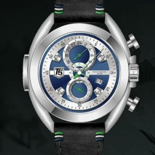 台灣出貨 限時特賣正品美國潮牌T5 sports time24時間手錶 真皮錶帶男錶防水計時石英表3673銀框藍面