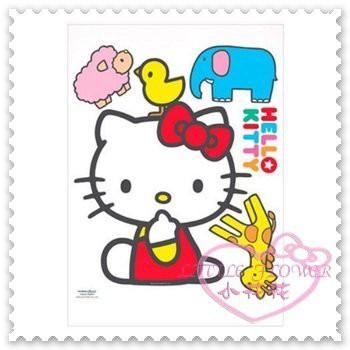 ♥小花花日本精品♥Hello Kitty 磁磚壁貼長頸鹿小雞小象綿羊貼紙磁磚貼玻璃貼佈置貼韓國製 53102409