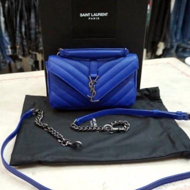 全新正品YSL 438492 古銅銀扣LOGO 藍色 Mini 手提/肩背款包 學院包