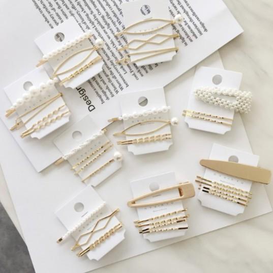 【18組】韓國金屬珍珠髮夾極簡甜美風劉海夾套裝一字夾邊夾發卡組合套裝髮飾F6
