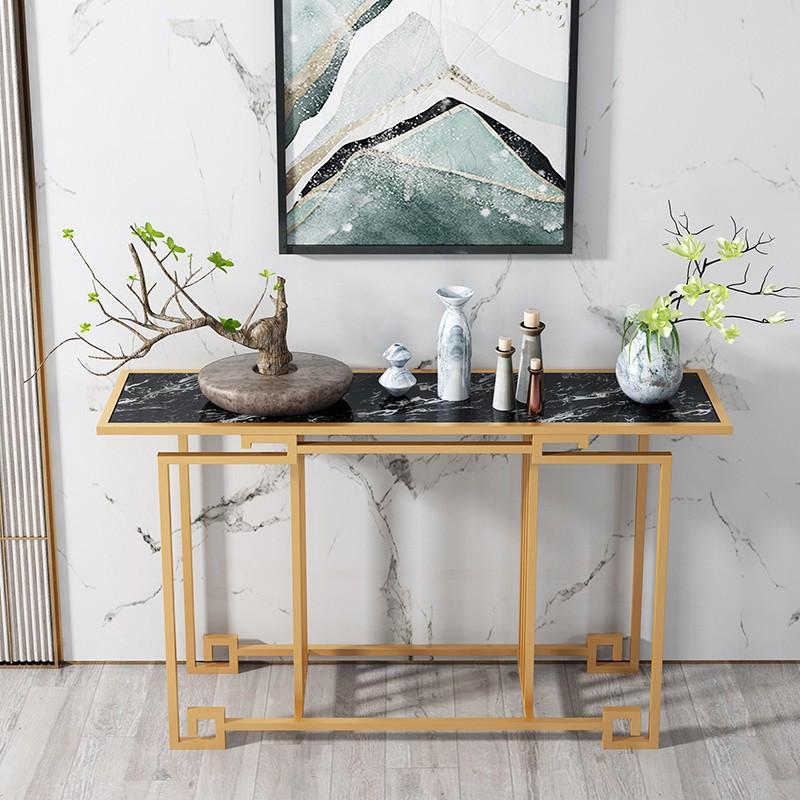 新中式大理石玄關桌輕奢玄關柜簡約現代玄關臺靠墻窄桌長條邊桌子902
