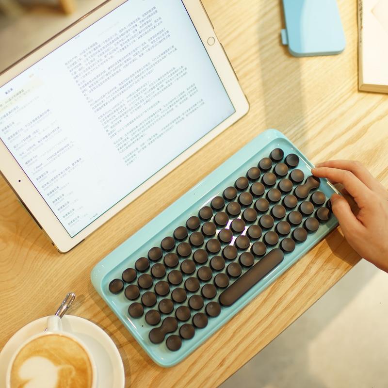 DOT圓點機械藍牙無線平板ipad蘋果復古鍵盤口紅版小黃鴨熊本熊白