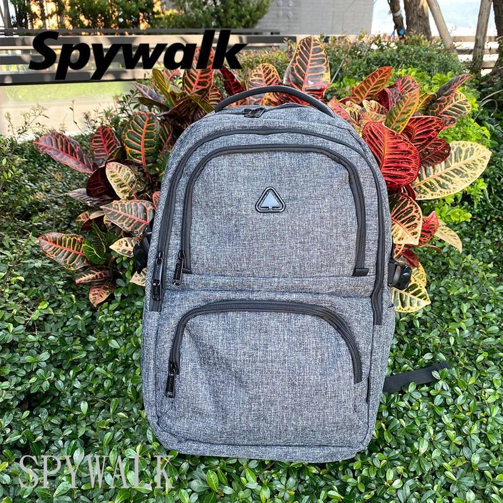 【免運】SPYWALK 勝德豐 USB防盜後背包 筆電後背包 休閒後背包 書包 胸扣 #9186灰色