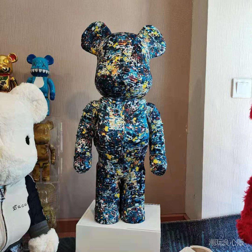 潮玩良心販BE@RBRICK1000% 穿衣潑墨3代 暴力熊 積木熊 潮流擺件公仔 店鋪裝飾擺件 潮人玩具 潮牌手辦模型