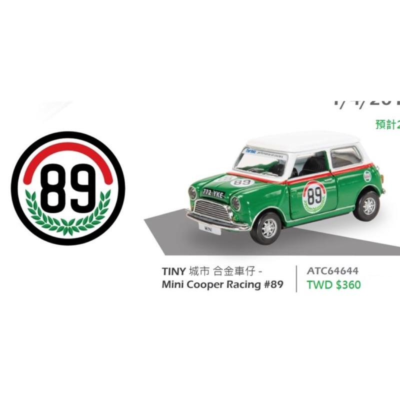 TINY  1/64 #89號。MINI COOPER RACING 綠色
