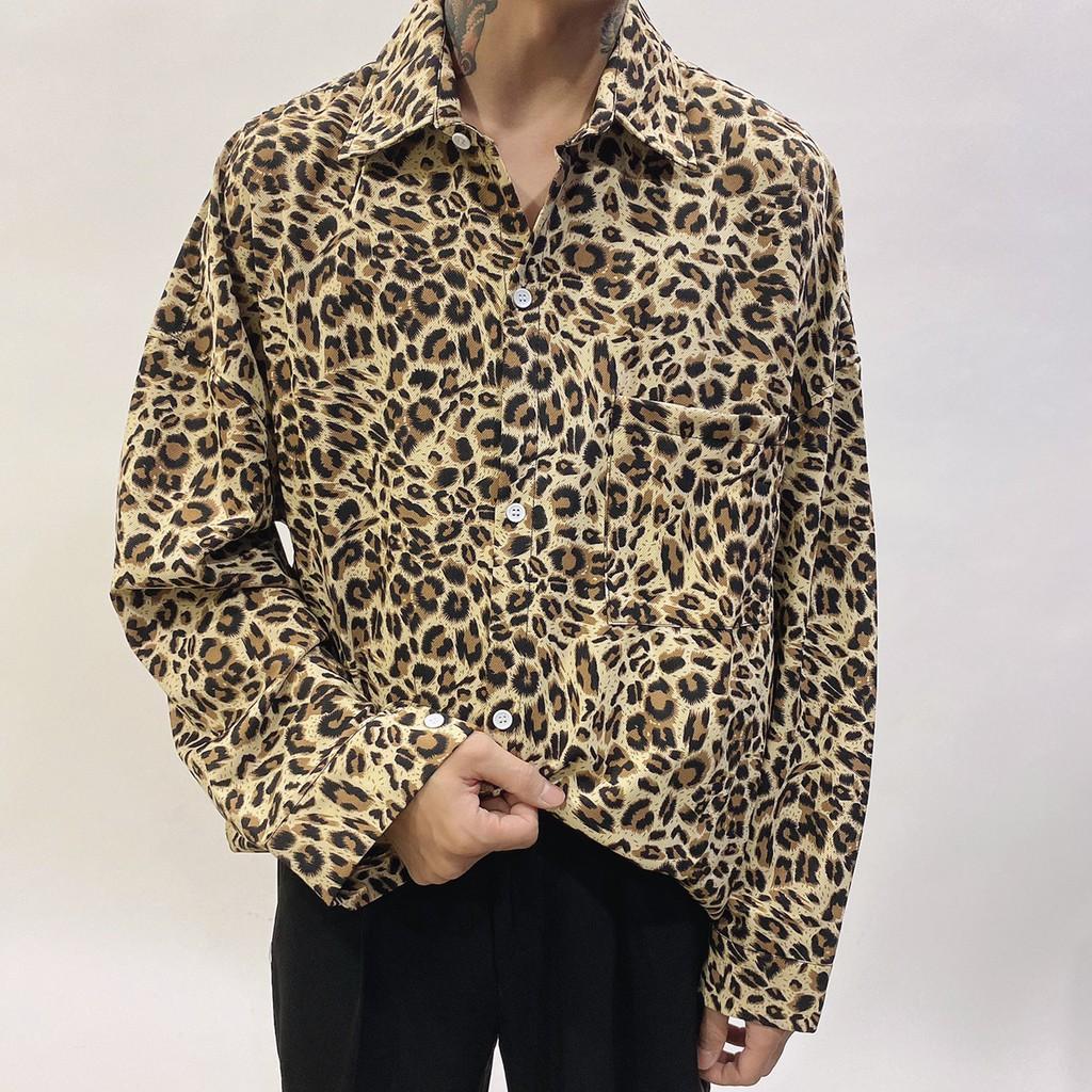TOP_KOREA 豹紋長袖襯衫 D786