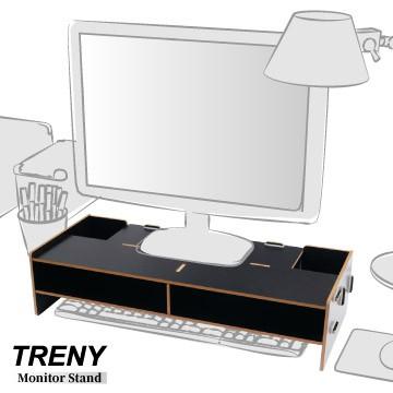 【TRENY直營】電腦螢幕增高架 (加厚基本-黑) 電腦螢幕收納架 螢幕架 鍵盤架 鍵盤收納 抽屜 D5088-B