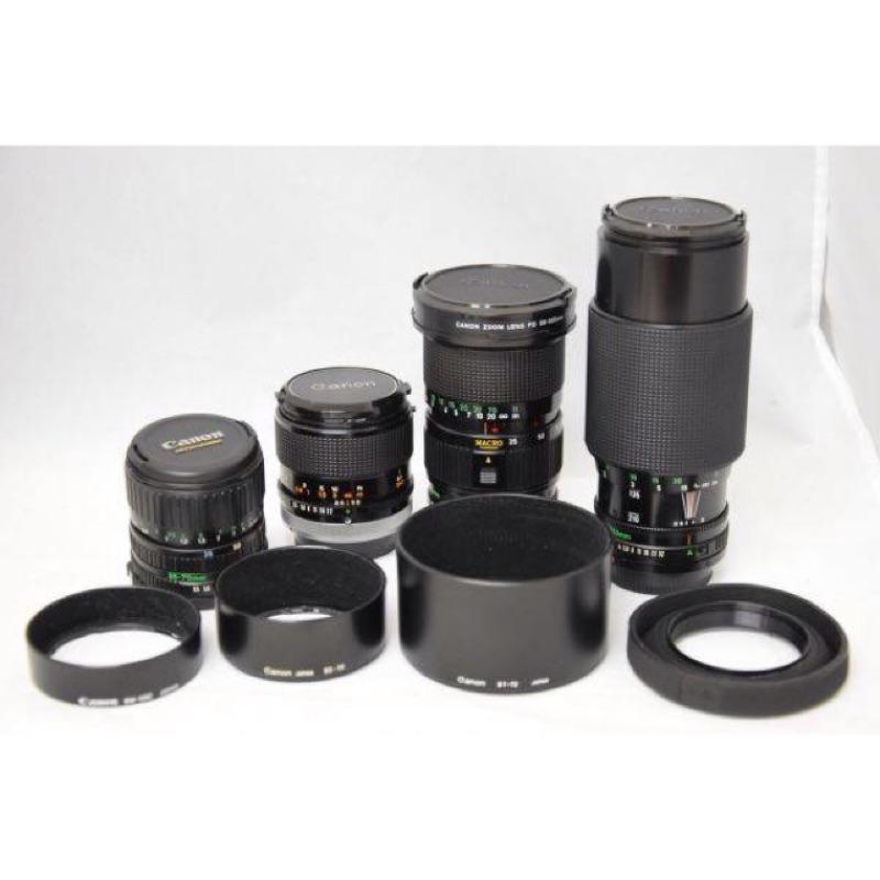 鏡頭 四支 canon 50mm f3.5 ssc macro 35 105mm 35 70mm 70 210mm fd