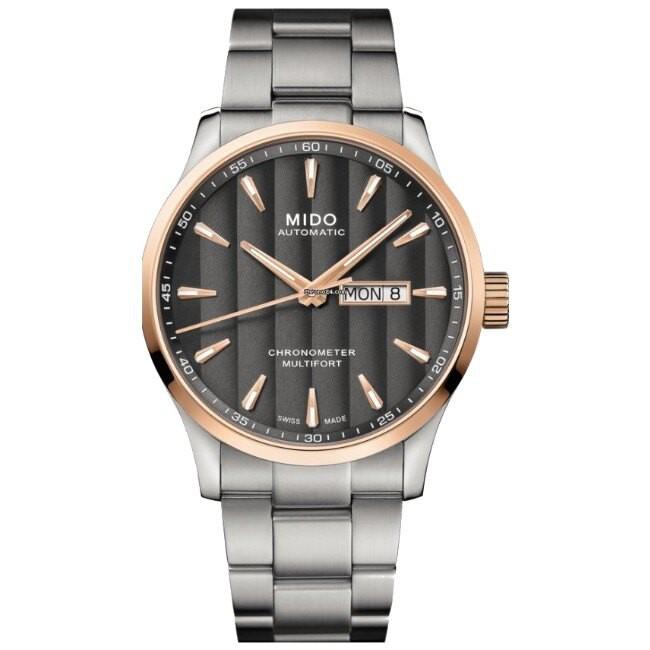Mido 美度錶 M0384312106100 Multifort 日內瓦波紋天文台腕錶/炭灰 42mm