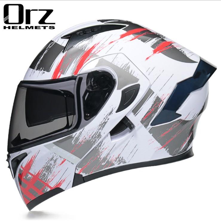 【免運】Orz頭盔男女電動摩托車揭面盔全盔尾翼半盔安全帽個性冬季機車灰