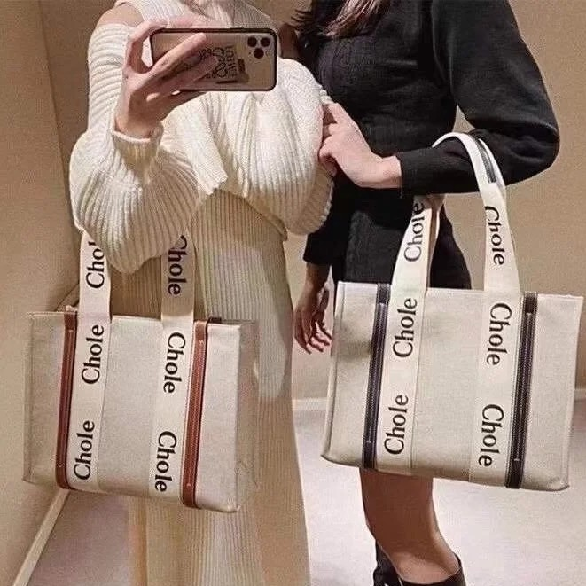Chloe帆布購物袋 Woody Tote Bag 克洛伊手提托特包 簡約百搭肩背包 單肩包 手拎包 媽咪包
