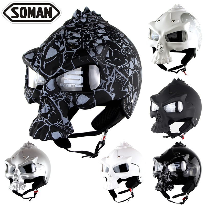 (硬骨頭)soman 骷髏 安全帽 嬉皮 哈雷 重機 面罩可拆 (非masei)