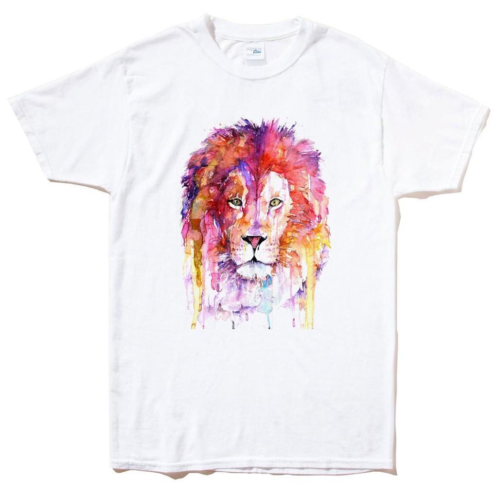 水彩獅 watercolor lion 短袖T恤 白色 設計插畫動物色彩街頭刺青潮T【現貨】