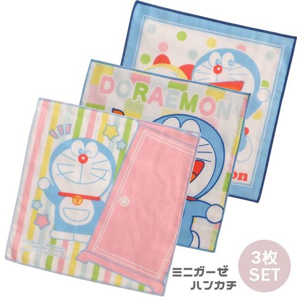 日本製哆啦A夢Doraemon3入小方巾18x18,兒童毛巾/小毛巾/澡巾/小方巾/兒童手帕,X射線【C999342】
