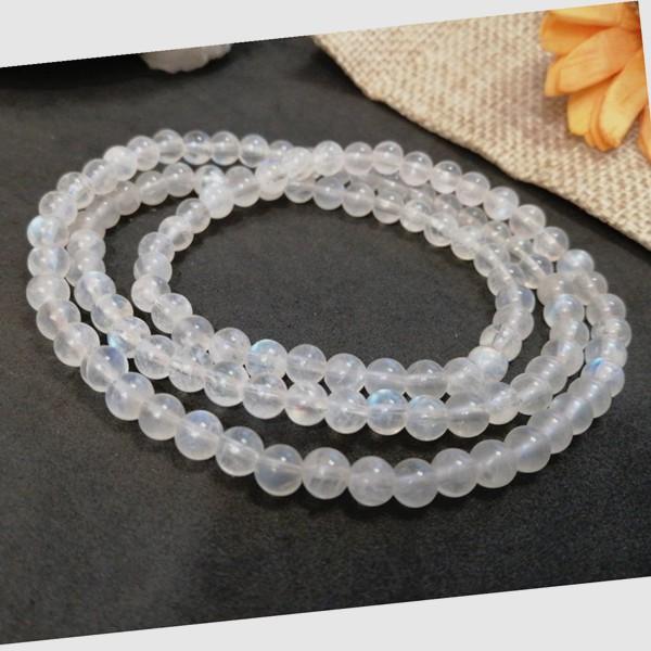 現貨 天然藍月光手鍊 奶油體 5mm 月光石手鍊3圈多圈 水晶手鍊 串珠項鍊 圓珠手珠【小玲唲】