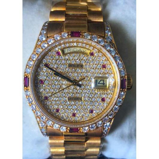 亞泰精品 實體店面 勞力士手錶 18038 流當品 品相如新 男款 男錶 滿天星 18K金 星期窗 日曆窗