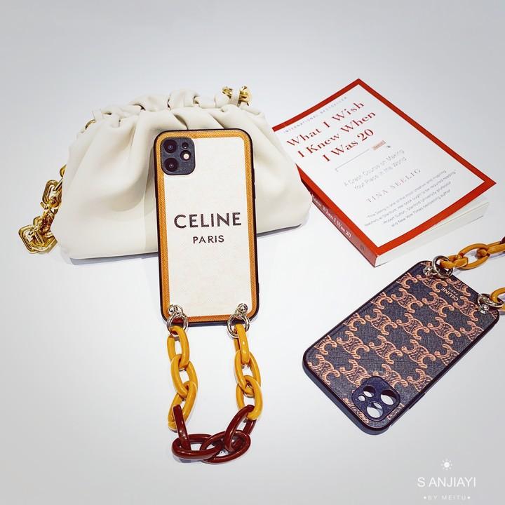 大牌賽琳老花iPhone11pro適用蘋果12max鏈條手機殼celine復古奢華手機殼