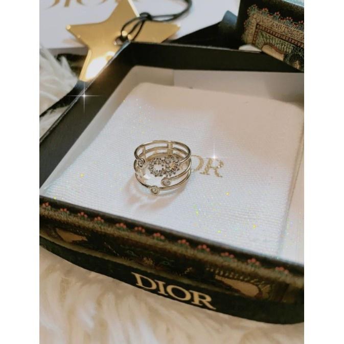 小莫二手正品 Dior 三重閃亮 D環戒指 R0566SYDCY 首飾 飾品