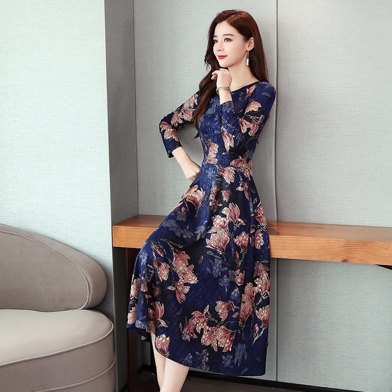 長袖 洋裝 A字裙 氣質長裙 2019新款針織提花復古長裙女中國風改良旗袍中式修身連衣裙