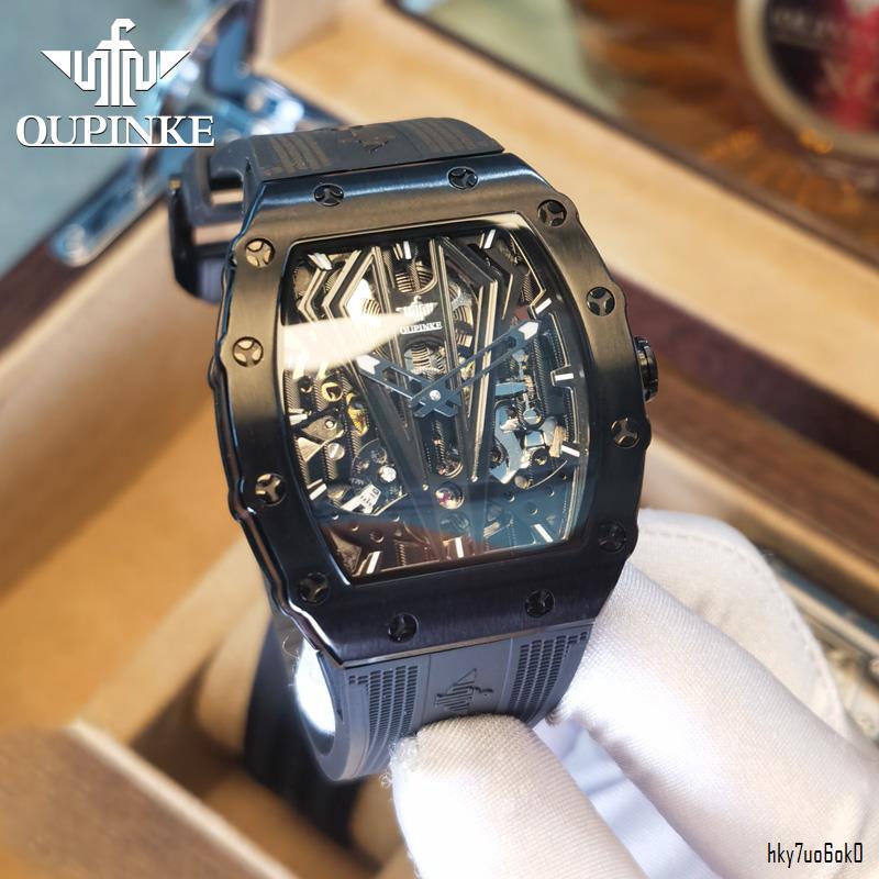 『免運 現貨』OUPINKE歐品客  手錶 品客 瑞士 新款 3179長方形手錶膠帶理查 旗艦店 全自動機械 理查德手錶