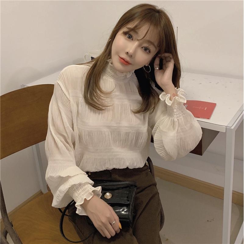 甜美壓褶 高領雪紡衫 韓版寬鬆顯瘦長袖