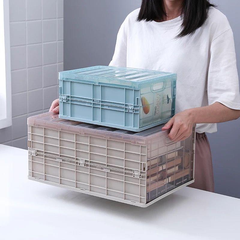 折疊收納箱 下掀式側開貨櫃箱 透明整理箱 折疊筐袋子  可折疊收納箱書箱學生高中宿舍裝書收納盒塑料衣服整理箱透明箱子