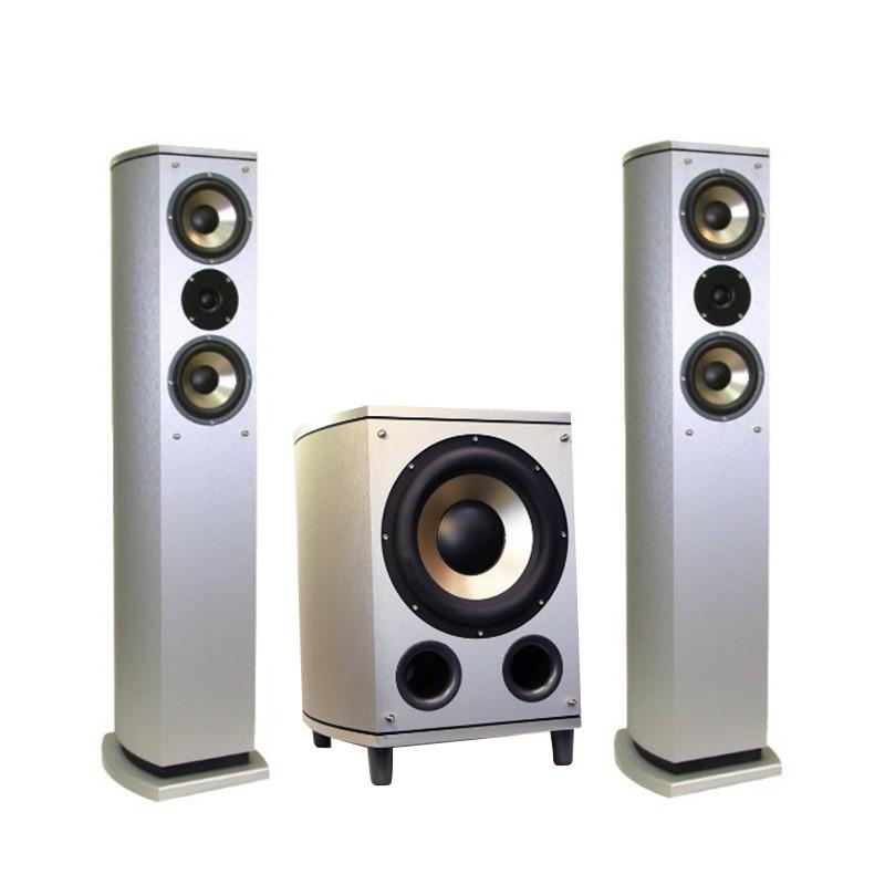 ANV 10吋重低音 喇叭 內建5.1 擴大機 木質密集板 貼銀色皮+前置喇叭 (AV-551AWS) 一組