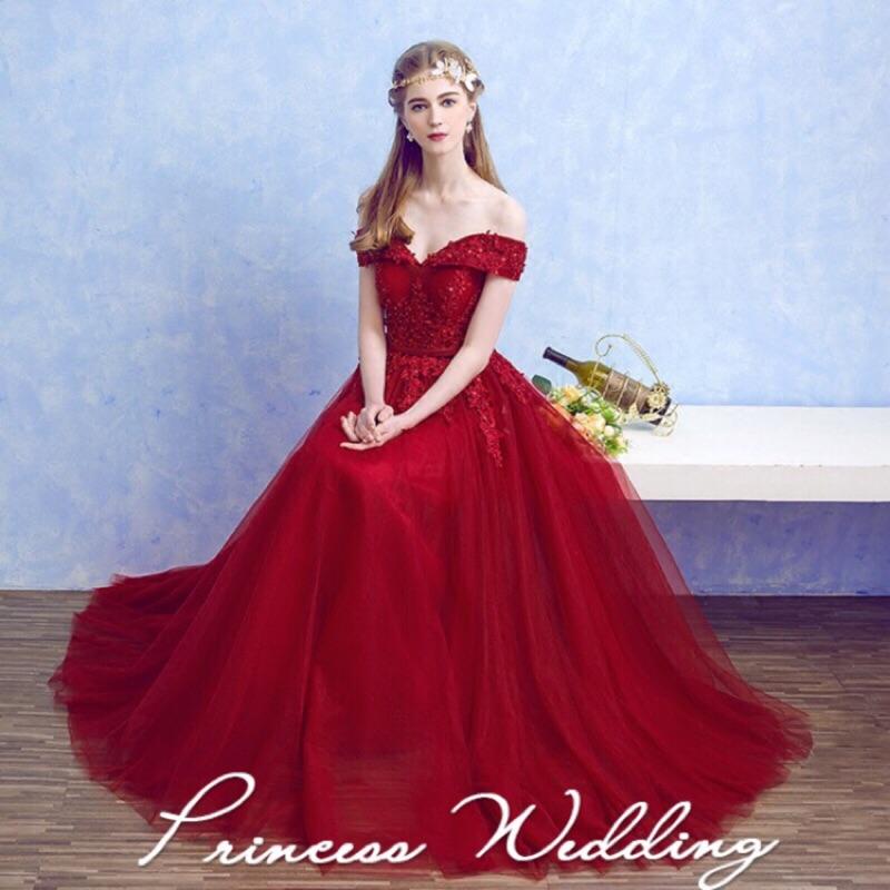 新款紅色長款宴會禮服 修身一字肩V領韓版新娘結婚敬酒服