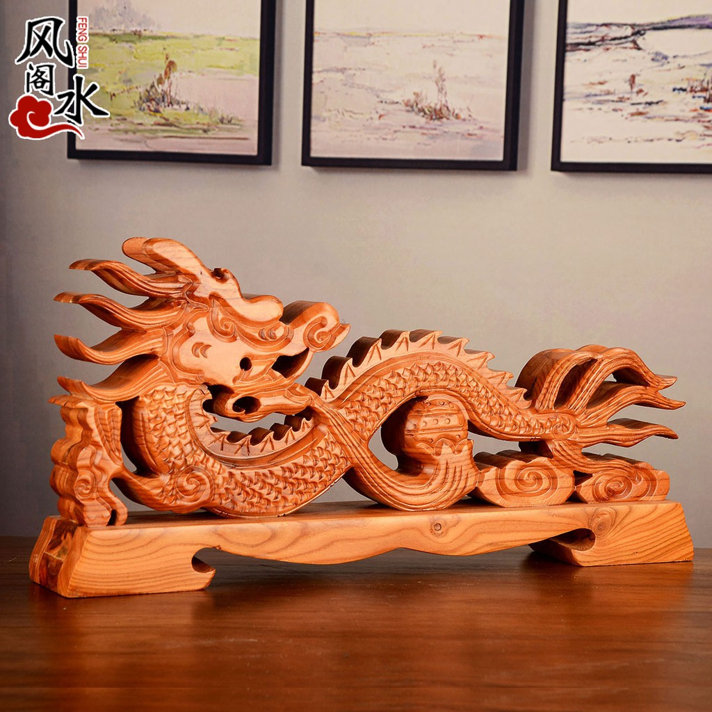 【一休】 風水閣 桃木劍架雙龍八卦桃木架子擺件 家居裝飾工藝禮品