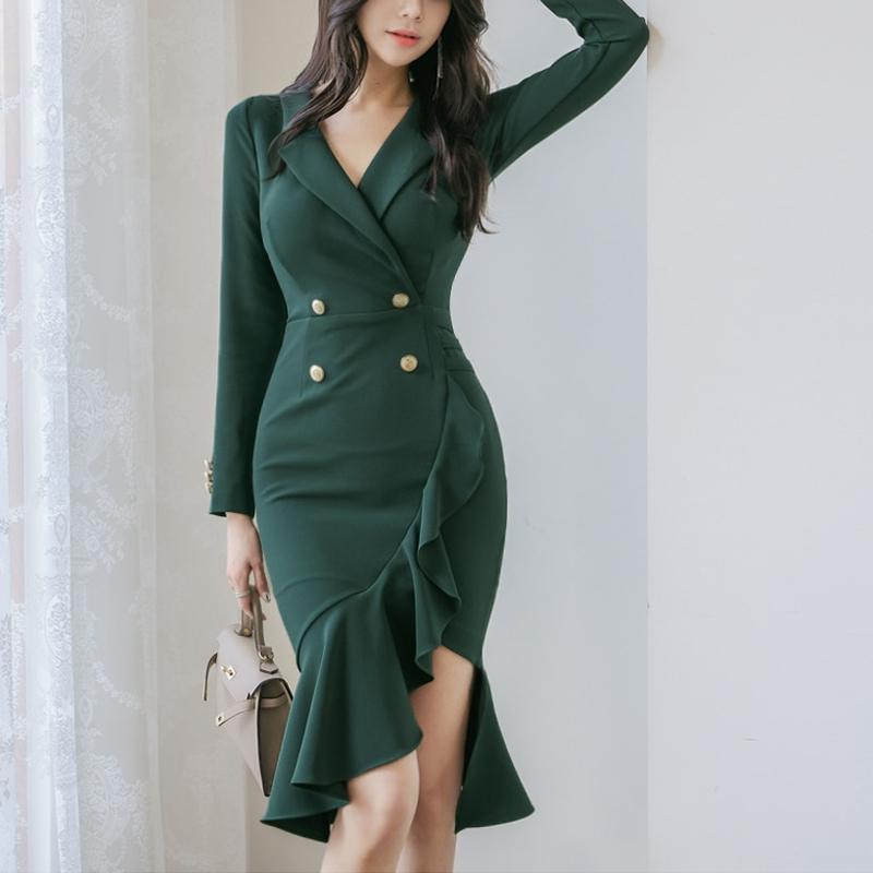 正韓洋裝緊身魚尾禮服秋天尺碼連身裙