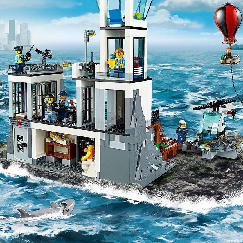 兼容樂高積木軍事城市系列海上監獄島警察局9-12歲男玩具拼裝 佳佳歡樂精品店