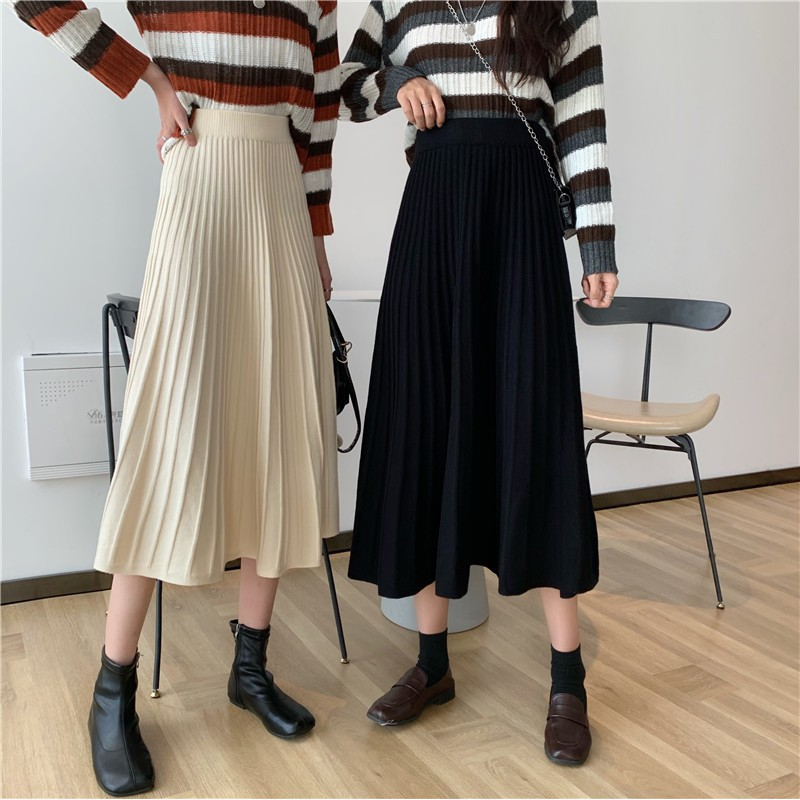 學生韓版法式針織長裙百搭中長款高腰半身裙