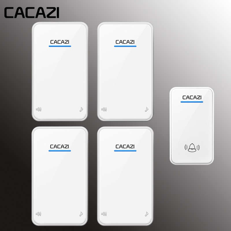CACAZI 1防水按鈕4接收器AC 100-220V門鈴48鈴聲6音量門鈴